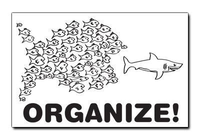 "Black on White ""Organize!"" Fish Sticker"