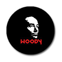 "Woody Guthrie 1"" Button (Red and White on Black)"