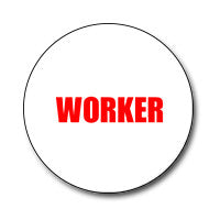 "Worker 1"" Button (Red on White)"
