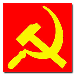 Yellow on Red Hammer and Sickle Sticker