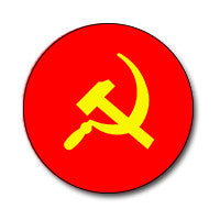 "Hammer and Sickle 1"" Button (Yellow on Red)"