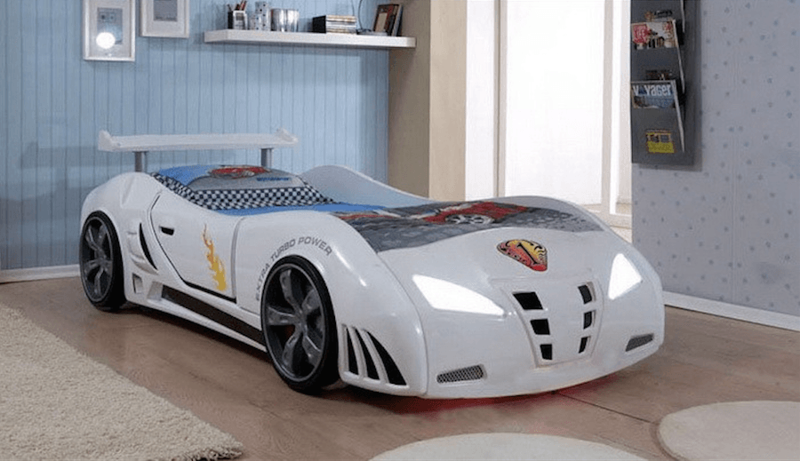 Speedster Ventura White Car Bed With Lights And Sounds