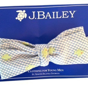 Johnny Blue with Lime Fish Embroidery Bow Tie