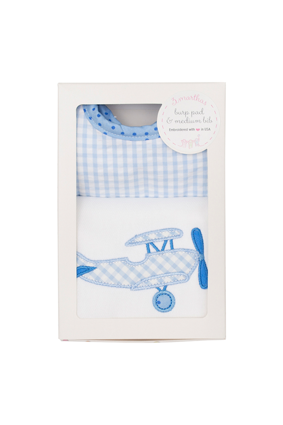 Blue Plane Medium Bib and Burp Box Set