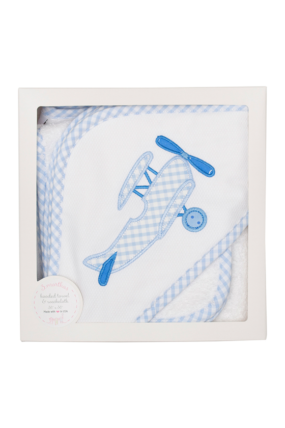 Blue Plane Boxed Hooded Towel and Washcloth Set
