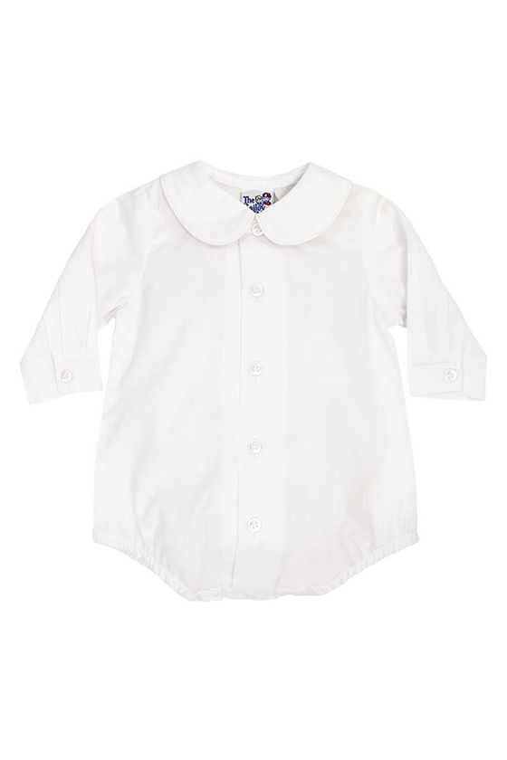 White Long Sleeve Piped Shirt with Snaps (Boy)