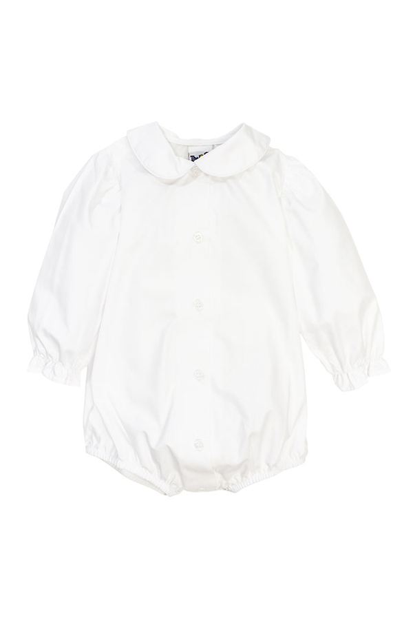 White Long Sleeve Piped Shirt with Snaps (Girl)