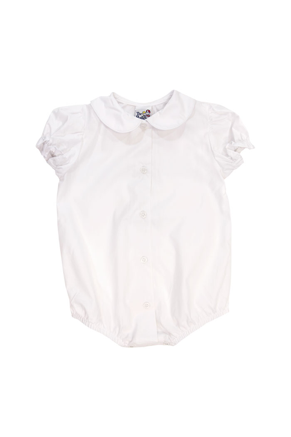 White Girls Short Sleeve Blouse with Snaps