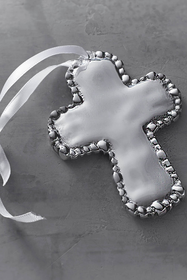 Baby Organic Pearl Cross Ornament