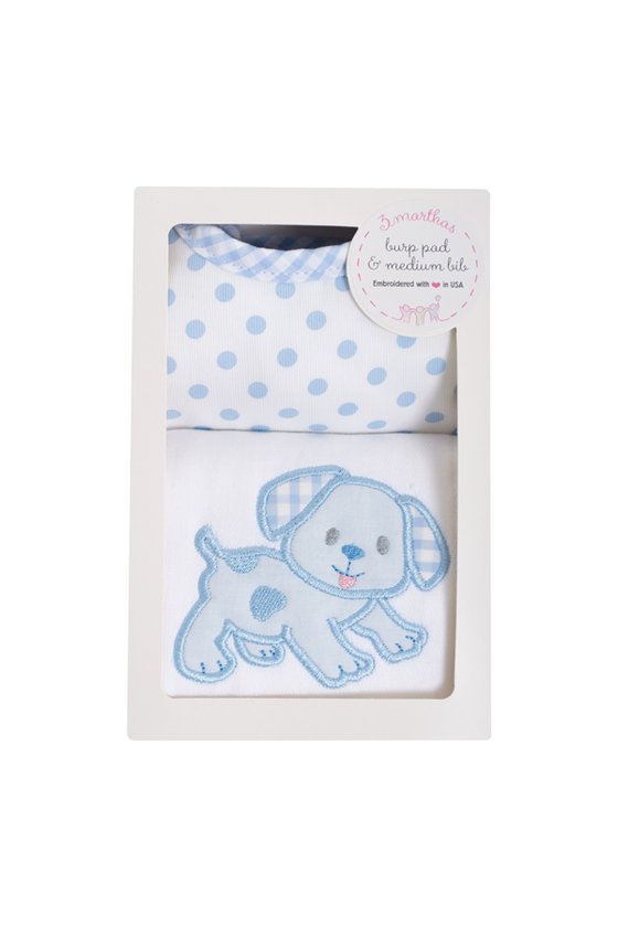 Blue Puppy Medium Bib and Burp Boxed Set