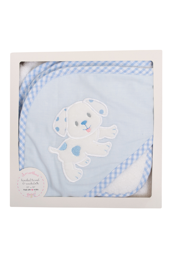 Blue Puppy Boxed Hooded Towel and Washcloth Set