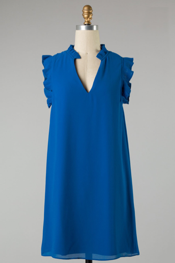 Blue Ruffle Trim Dress