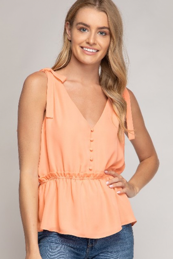 Cantaloupe Shoulder Tie Top
