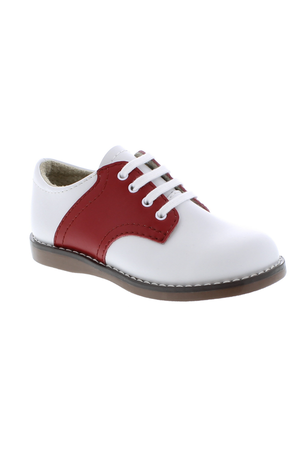 Cheer Lace Up Toddler Dress Shoe - White/Red
