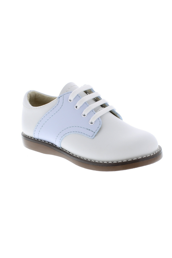 79243926121b Cheer Lace Up Toddler Dress Shoe - White Blue - The Frilly Frog