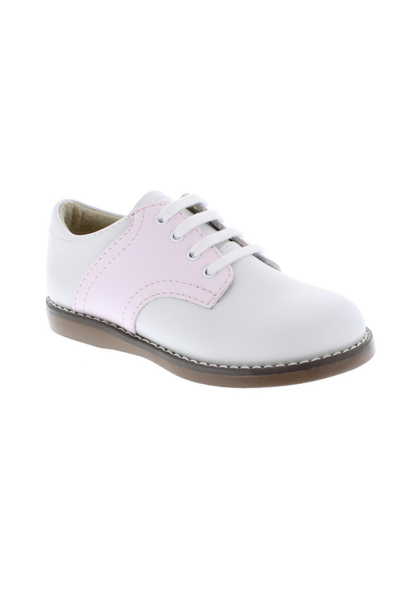 Cheer Lace Up Toddler Dress Shoe - White/Rose