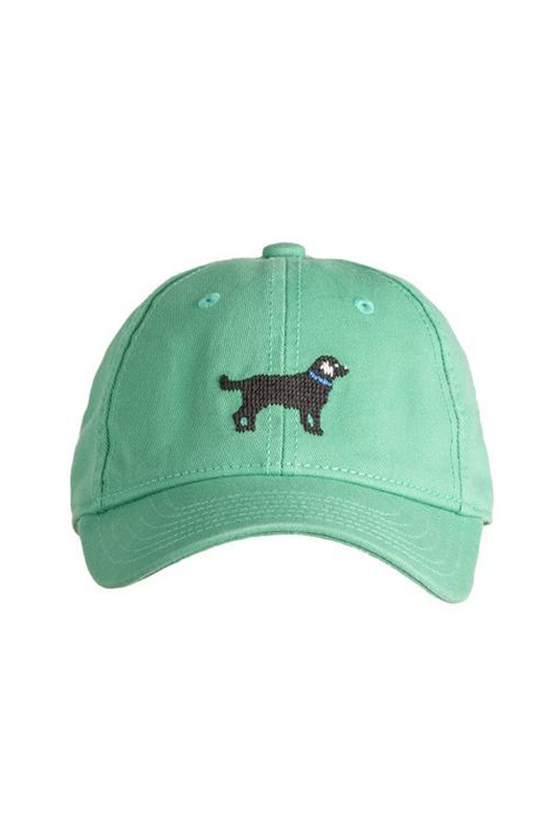 Kids Black Lab Needlepoint Moss Green Hat