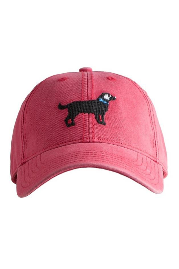 Black Lab Needlepoint Weathered Red Hat