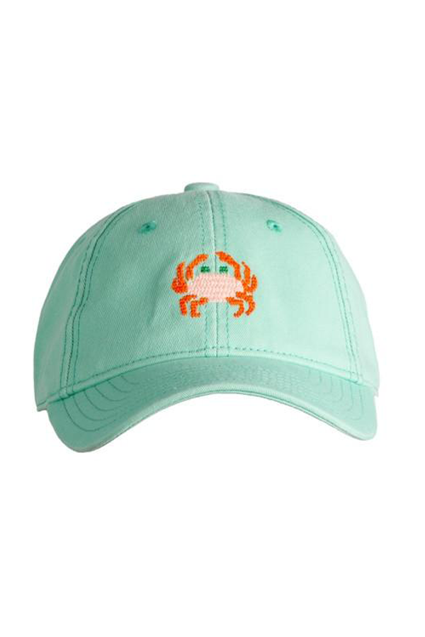 Crab Needlepoint Keys Green Hat