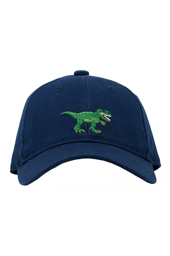 Kids T-Rex Needlepoint Navy Hat