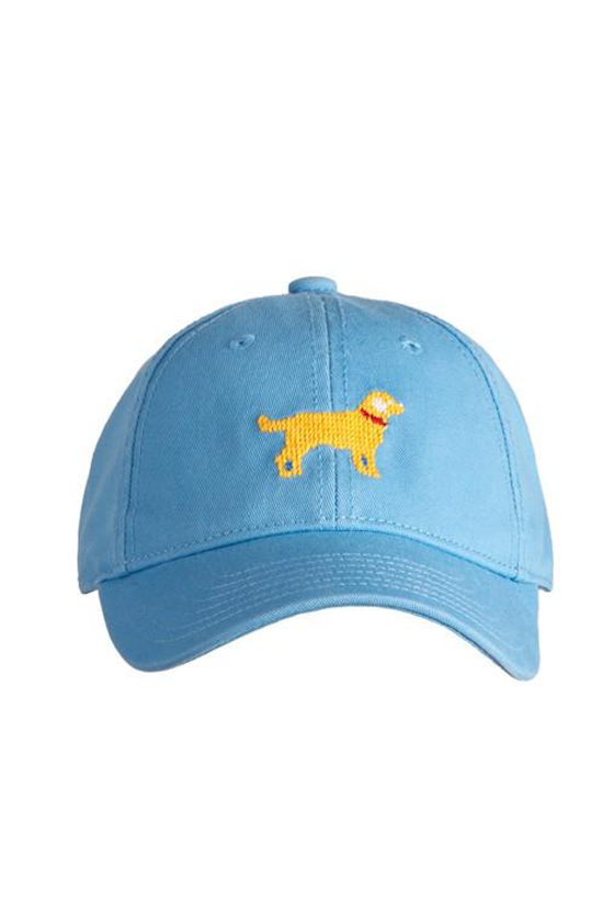 Kids Yellow Lab Needlepoint Coast Blue Hat