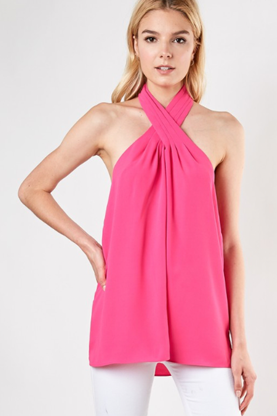 Cross Front Halter - Hot Pink