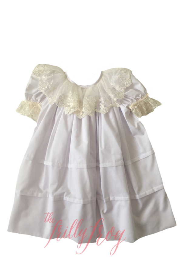 White and Ecru Lace Collar Heirloom Dress