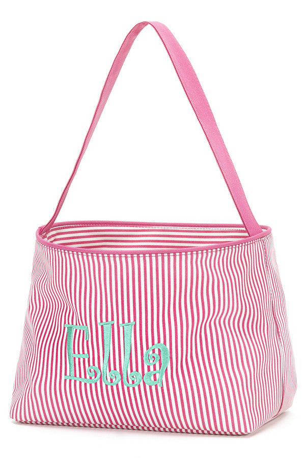 Easter Bucket - Pink Mini Stripe