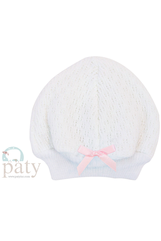 Beanie Cap with Pink Bow