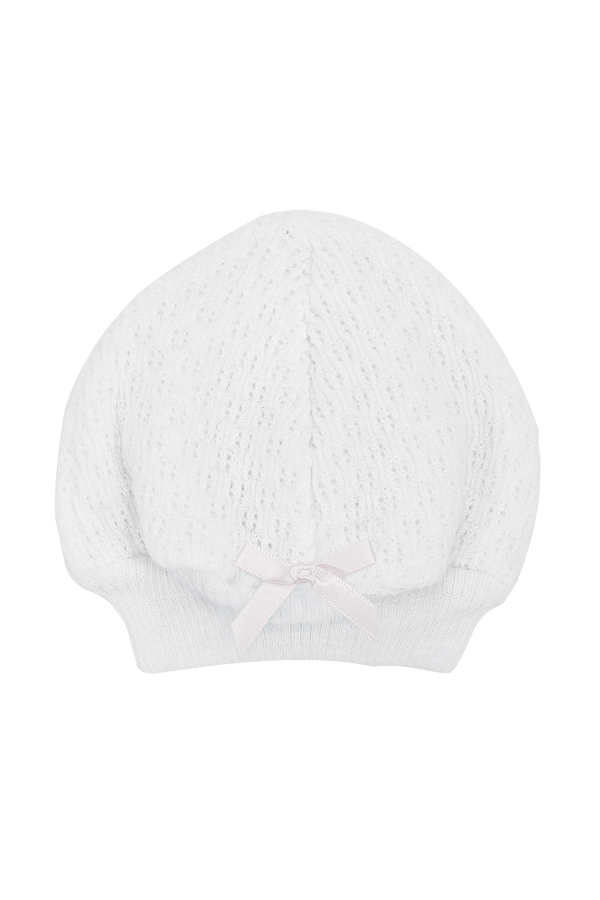 Beanie Cap with White Bow