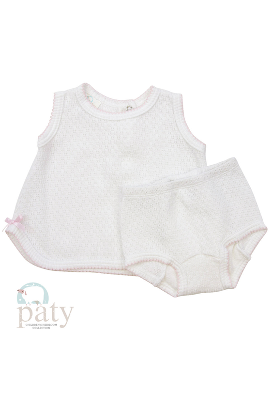 Sleeveless Top with Bow and Bloomers - Pink