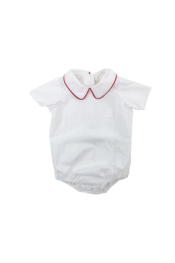 Peter Pan Collar Shirt - White Woven Short Sleeve with Richmond Red Trim