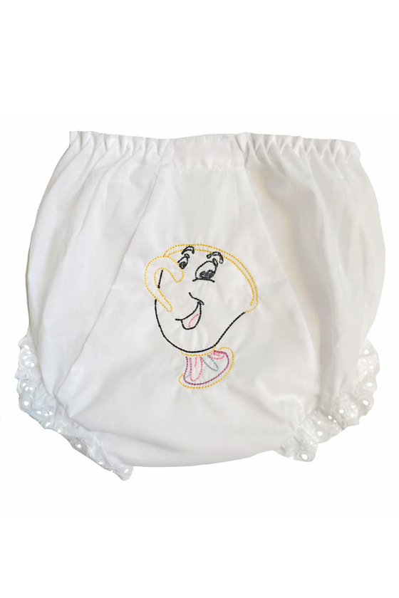 Beauty and the Beast Chip Tea Cup Embroidery White Eyelet Bloomers