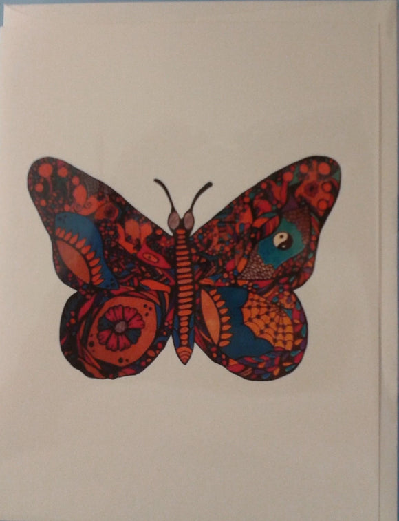 Handmade Zen Mind Artwork Blank Greeting Card - Butterfly - Kimberly Fagan