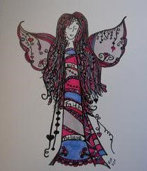 Handmade Zenmind Artwork Blank Greeting Card - Purple Angel - Kimberly Fagan