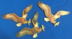 Handcrafted Wooden Eagle w/fish - Great decoration for a Boys room or Man Cave a set of three - Turkey Duster Game Call