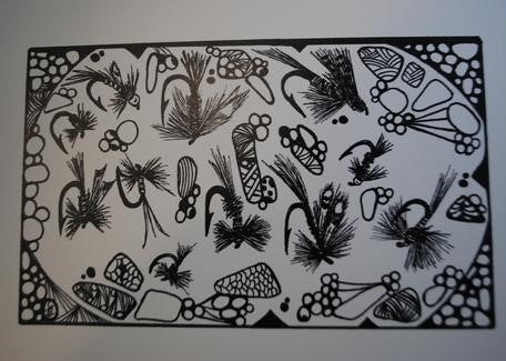 Handmade Zenmind Artwork Blank Greeting Card - Fishing Flies - Black & White - Kimberly Fagan