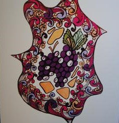 Handmade Zenmind Blank Greeting Card - Grapes in Color - Kimberly Fagan