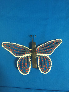 Handmade Decorative Butterfly for your yard - Blue with white trim and red dots - Turkey Duster Game Call