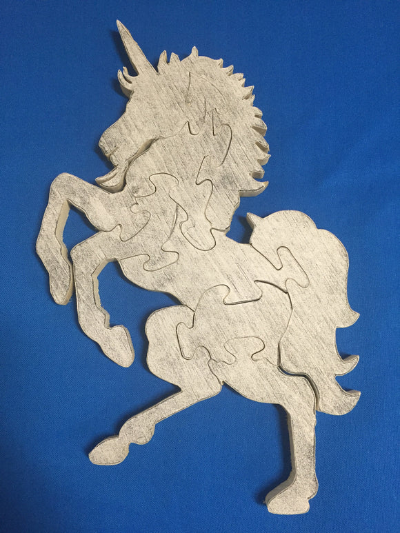 Handcrafted Wooden Unicorn Puzzle that you can color - Turkey Duster Game Call