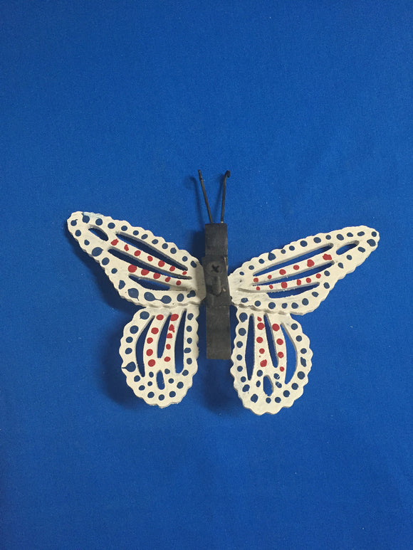 Handcrafted Wooden Butterfly - White with Blue & Red Dots - Turkey Duster Game Call