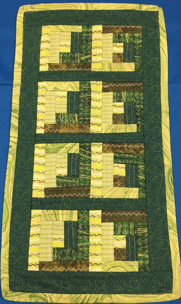 Dark Green & Yellow Quilted - Small Table Runner made by Brenneman's Quilt & Sew