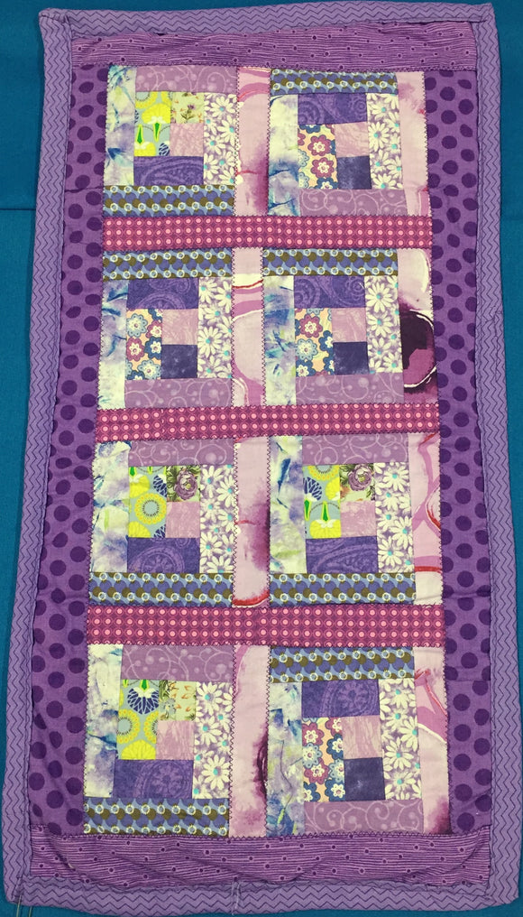 Lavender Dots Quilted - Small Table Runner made by Brenneman's Quilt & Sew