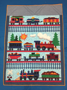 Boys Quilted Train Blanket made by Brenneman's Quilt & Sew