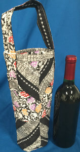 Quilted Wine Bag - Black & White Floral - made by Brenneman's Quilt & Sew