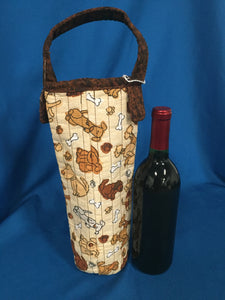 Quilted Wine Bag - Puppies & Bones made by Brenneman's Quilt & Sew