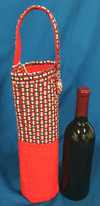 Quilted Wine Bag - Red, White & Blue with Stars made by Brenneman's Quilt & Sew