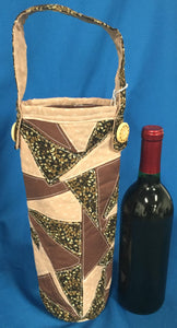Quilted Wine Bag - Browns & Tans made by Brenneman's Quilt & Sew