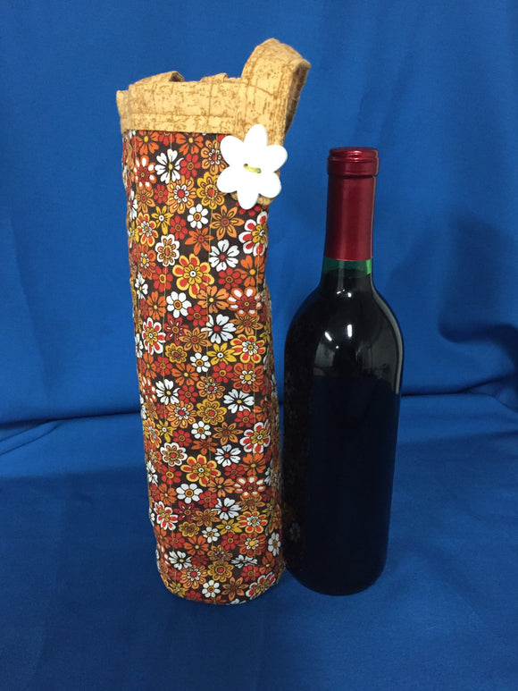 Quilted Wine Bag - Flowers made by Brenneman's Quilt & Sew