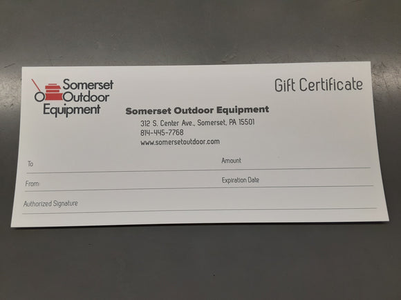 $25 Gift Card Somerset Outdoor Equipment